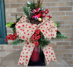 2 Cardinal Christmas Lantern Swags for Melissa by LoversLaneCrafts