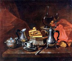 André Bouys - Still Life with Silver and Biscuits, 1700