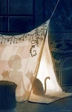 Build your blanket tent, curl up with your best book, your kitty beside you, close your eyes and sleep tight tonight.v