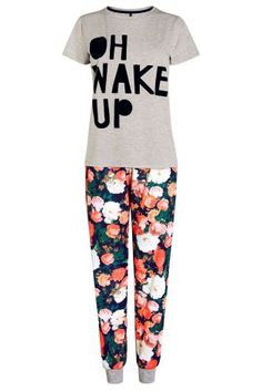 Buy Slogan T-Shirt And Floral Cuff Pyjamas from the Next UK online shop