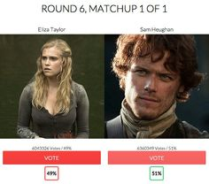 Outlander's Sam Heughan is RadioTimes.com Sci-Fi Champion 2015  The Scottish actor beat off stiff competition from The 100's Eliza Taylor Cotter in the final to claim the prestigious title.