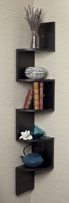 Zig zag corner wall shelf // clever design, though I wouldnt round the corner and I can build this myself /)