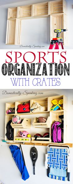 Garage Sports Organization with Crates @cratesandpallet @HomeDepot #cratesandpallet #LetsDoThis #sp