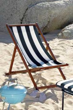 A blue stripe deck chair is almost a must-have in France to rock the nautical look. This one is from Apichaya Apichaya at Garden Furniture, Outdoor Furniture, Beyond The Sea, Nautical Looks, Desert Island, Nautical Fashion, Beach Chairs, Beach Cottages, Beach House Decor