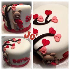 Heart cake, bear cake , fondant , cake design