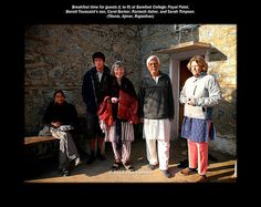 """From """"To India, with Tough Love"""": Breakfast time for guests (L to R) at Barefoot College: Payal Patel,   Benoit Toussaint's son, Carol Barker, Ramesh Asher, and Sarah Timpson.   (Tilonia, Ajmer, Rajasthan)"""