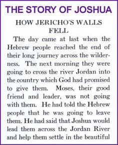 The Story of Joshua and Jericho's Walls (Story) – Kids Korner – BibleWise Bible Story Crafts, Bible Stories For Kids, Bible Study For Kids, Bible Lessons For Kids, Kids Bible, Jesus Crafts, Preschool Bible, Bible Art, Preschool Ideas