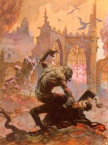 Frank Frazetta Dracula Meets the Wolfman painting for sale - Frank Frazetta Dracula Meets the Wolfman is handmade art reproduction; You can shop Frank Frazetta Dracula Meets the Wolfman painting on canvas or frame. Frank Frazetta, Creepy Comics, Horror Comics, Arte Horror, Image Comics, Ec Comics, Silver Age Comics, Comic Shop, Monsters