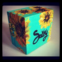 Sunflower and turquoise jewelry box- hand painted.