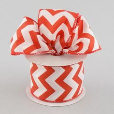 2.5 Red and White Satin Chevron Ribbon 10 by CustomWreathDecor