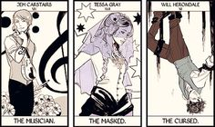 Drawn by Cassandra Jean ... james 'jem' carstairs, william 'will' herondale, tarot card, the infernal devices, theresa 'tessa' gray