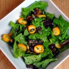 Mustard Greens Salad with Kumquats