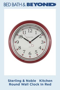 The simply timeless Sterling & Noble Kitchen Round Wall Clock is sure to add convenience and decorative style to your kitchen or office. This round plastic wall clock has Arabic numerals and a sweeping second hand for easy reading. Kitchen Wall Clocks, Red, Products, Rouge