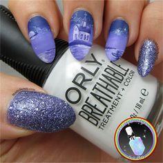 Freehand Purple Monochrome Island Nails