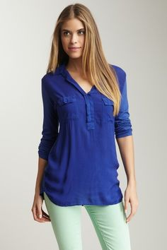 Splendid Long Sleeve Spread Collar Top by Out Of The Blue on @HauteLook