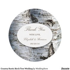 Country Rustic Birch Tree Wedding Paper Plate