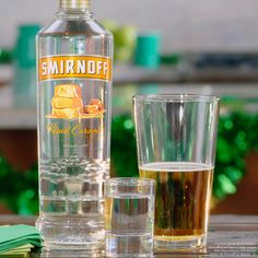 IRISH GOODBYE. St. Patrick's Day is all about tradition, party hopping and making an easy and delicious  Irish Goodbye.   Just pour .75oz Smirnoff Kissed Caramel in a shot glass, 8oz Hard Apple Cider in a pint glass, and…. drop.