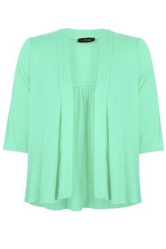 Yoursclothing Plus Size Womens Mint Gathered Back Shrug Size 24-26 Green