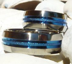 Matching Thin Blue Line Titanium Wedding Bands - stb16
