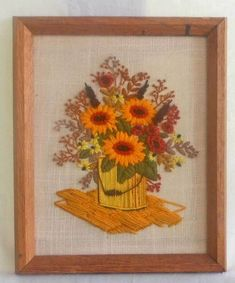Vintage Mid Century Modern Modernist Sunflowers Needlework Paint Can Flowers Orange Painting, Mid Century Modern Decor, Paint Cans, Floral Wall, Hanging Wall Art, Wood Art, Needlework, Mid-century Modern, Sunflowers
