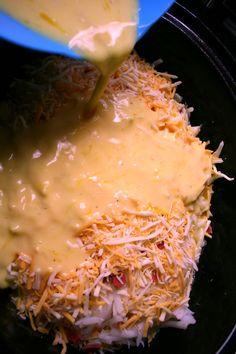 Crockpot Breakfast Casserole, used mini tater tots instead of hashbrowns and it was tasty!