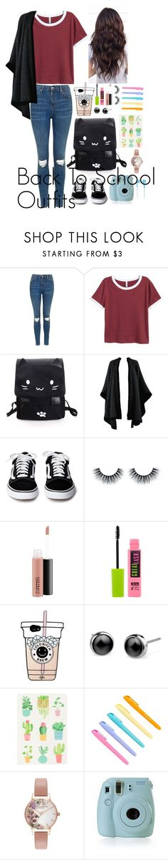 """Back to School Outfits #7"" by gussied-up ❤ liked on Polyvore featuring Topshop, Yves Saint Laurent, MAC Cosmetics, Maybelline, Olivia Burton, Fujifilm and Happy Plugs"