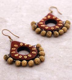 Red & Golden Hand Painted Terracotta Earrings