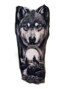 Wolf Sleeve, Wolf Tattoo Sleeve, Tribal Sleeve Tattoos, Tribal Wolf Tattoo, Mens Lion Tattoo, Small Snake Tattoo, Cool Small Tattoos, Wolf Tattoo Shoulder, Werewolf Tattoo