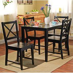 Virginia 5 Piece Dining Set, Black 249.00 Black Dining Rooms, Black Dining  Set,