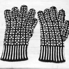 My mum's old Sanquhar pattern gloves, discovered today in the knitting box she left me. Nibbled by moths. | Flickr: partage de photos!