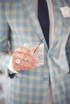 groom in plaid (not a fan of the ring though)