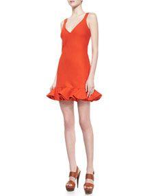 Carole Ruffle-Hem Twill Dress