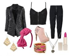 Desperately Seeking Susan is all about '80s fashion. Capris, leggings, blazers, and bold colors were featured in almost every outfit. Daring pieces, like cropped tops, harem and parachute pants, bustiers, and mesh tops were heavily featured in the film. Madonna's signature gloves and hairbows are present in almost every scene, as are stacks of bangles, piles of necklaces, headscarves, and studded boots, rock Egyptian-inspired jewelry and brightly colored lipstick.