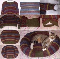 We all have at least one family member or friend who is totally in love with their pets .Here is a nice project for how to DIY pet bed from an old sweater. Diy Pet, Diy Cat Bed, Pet Beds Diy, Cat House Diy, Old Sweater, Cat Sweaters, Wooly Jumper, Lit Chat Diy, Recycler Diy