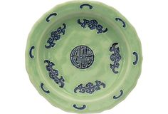 """Chinese celadon plate in the """"five bat"""" good luck motif. Made in the 18th century."""