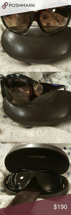 AUTHENTIC NWT Michael Kors Sunglasses AUTHENTIC NWT Michael Kors Sunglasses ??? Gorgeous oversized sunglasess etched with MK signature in top corner, tortise shell. Comes with hard case and cleaning cloth. Lens:66 Bridge:16 Arms: 120 Michael Kors Accessories Sunglasses