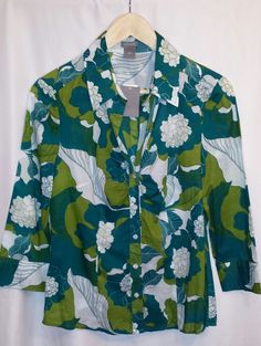New Ann Taylor 100% Cotton Blue-Green Floral Blouse,3/4 sleeve~Size 8 #AnnTaylor #Blouse #Casual