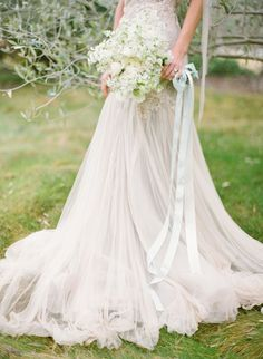 Long ribbon: Wedding Idea | THE WHITE STUDIO - bouquet and gown perfection | The Joy Proctor Workshop