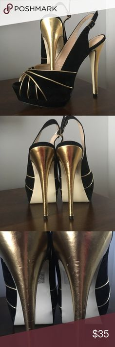 Black and Gold Sling-back Peep-toe Heels Only worn once, inside only! Colin Stuart, black faux suede with gold accents! Gold heels with some indentations as well as black marks on soles as shown in photos. Colin Stuart Shoes Heels