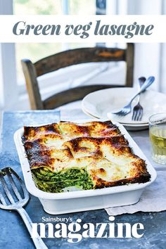 A hearty family meal or dinner party main, this vegetarian lasagne is layered with a creamy spinach sauce, roasted courgettes and pine nuts. Assemble the day before and whip out the oven to serve Veg Lasagne, Vegetarian Lasagne, Lasagne Recipes, Lasagna, Healthy Soup Vegetarian, Healthy Salad Recipes, Veggie Recipes, Vegetarian Recipes, Veggie Meals