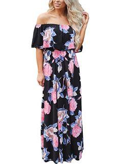 4212e07a56e Happy Sailed Women Floral Print Off Shoulder Maxi Dresses, Small Black Floral  Print Maxi Dress