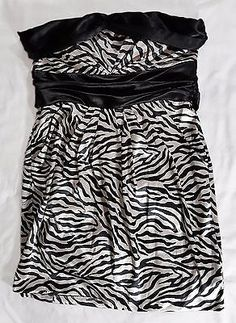 Jump Apparel Size 16 Black Satin Zebra Print Strapless Dress Party Prom Plus Sz