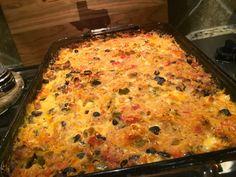 ***Spaghetti squash taco casserole - good with ground turkey, DELISH with ground beef! -