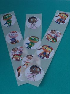 Super Why Birthday Party 1.5 inch stickers - Perfect for party favors, birthday decor, etc. - You choose the theme on Etsy, $5.00