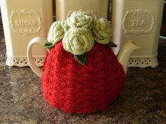 Sale 4-6 Cup Crochet Tea Cosy/ Tea Cozy/ Cosy/ Cozy Red and Pale Green with Roses/Valentine