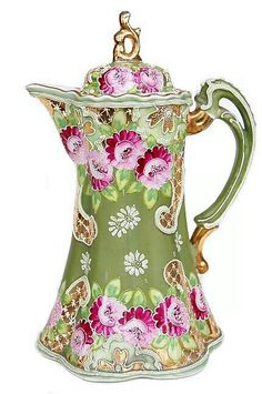 Nippon Moriage floral design, with lid small tankard