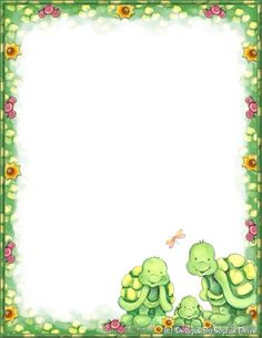 Made by Sophia Delve Design Stationary Printable, Cute Stationary, Stationary Design, Borders For Paper, Borders And Frames, Turtle Classroom, Turtle Store, Turtle Pattern, Writing Paper