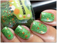 Sonoma Nail Art -  Sincerest Pumpkin Patch - a green tinted base with orange and green glitter