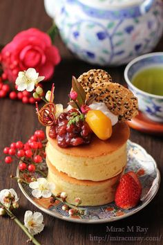 Japanese Style Extra Thick Pancakes 和風デコレーション厚焼きホットケーキ