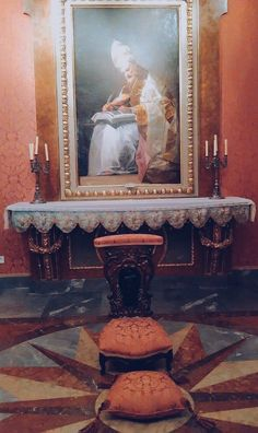 """""""San Gregorio, Magno"""" de Francisco de Goya preside este Oratorio, que se utilizaba tanto para actos religiosos íntimos como para reuniones sociales. En esta sala también podemos encontrar una serie pinturas españolas de época barroca."""